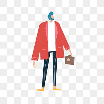 cartoon red coat leather bag man, A Leather Bag, Simple, Texture PNG and PSD
