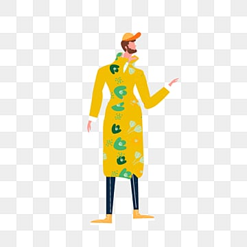 cartoon yellow coat male illustration, Yellow, Simple, Texture PNG and PSD