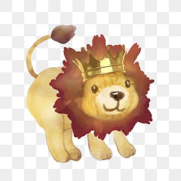 crown lion hand drawn cartoon watercolor element, Lion, Crown, Cartoon PNG and PSD