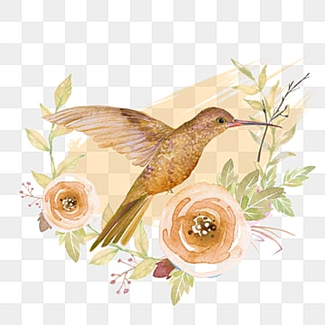 flying bird hand drawn watercolor floral elements, Bird, Flowers And Plants, Lovely PNG and PSD