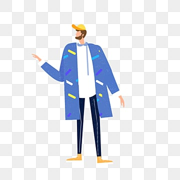 hand drawn blue coat male illustration, Overcoat, Exquisite, Copyrighted PNG and PSD