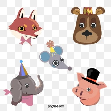 hand drawn cartoon animal elephant pig bear mouse element, The Bear, Pig, Mouse PNG and PSD