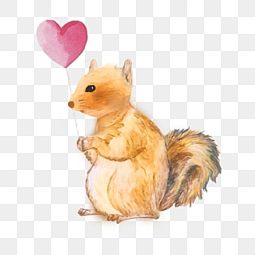 hand drawn cartoon squirrel love balloon element, Squirrel, Balloon, Heart Love PNG and PSD