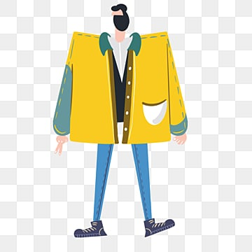 hand drawn cute yellow model male illustration, Yellow, Overcoat, Hand Painted PNG and PSD