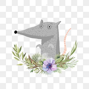 hand drawn grey mouse cartoon floral element, Mouse, Flowers And Plants, Gray PNG and PSD