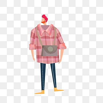 hand drawn red shirt male illustration, Simple, Texture, Creative PNG and PSD