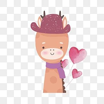 hand drawn watercolor deer elements, Deer, Hat, Heart Love PNG and PSD