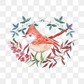 red bird leaf element watercolor hand drawn, Bird, Red, Leaf PNG and PSD