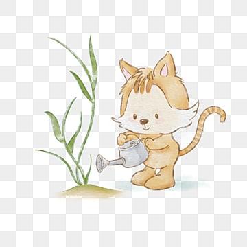 yellow cute kitten watercolor cartoon hand drawn veil, Cartoon, Yellow, Cat PNG and PSD