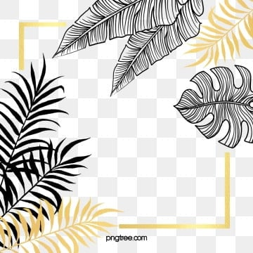 black gold plant leaves hand painted border, Black, Gold, Hand Painted PNG and PSD