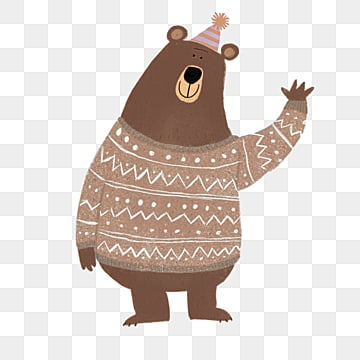 brown bear hat beckoning cute elements, Brown, Little Bear, Flat PNG and PSD