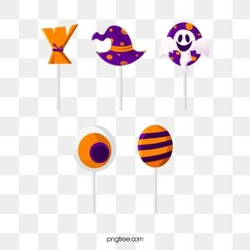 cartoon style orange purple halloween lollipop candy, Cartoon Style, Halloween, Lollipop PNG and PSD