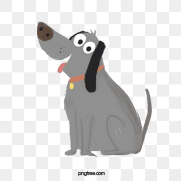 gray dog ​​cartoon illustration hand drawn elements, Dog, Gray, Black PNG and PSD
