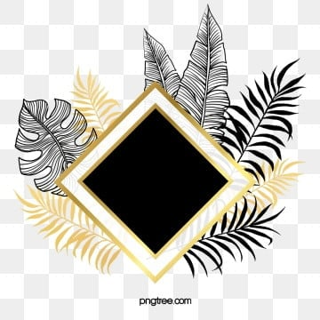 hand drawn black gold tropical plants border, Golden, Plant, Frame PNG and PSD