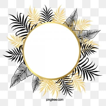 hand drawn black gold tropical plants border, Hand Painted, Plant, Leaf PNG and PSD