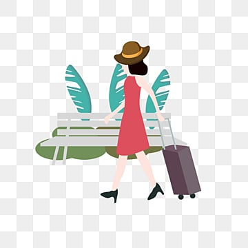 hand drawn original cute girl travel illustration, Tourism, Hand Painted, Trunk PNG and PSD