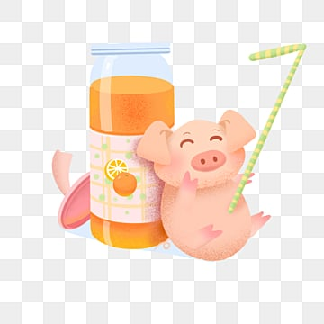 piggy drink summer noise illustration element, Hot Pixel, Piglet, Drinks PNG and PSD