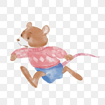 rat running watercolor hand drawn elements, Mouse, Hamster, Watercolor PNG and PSD