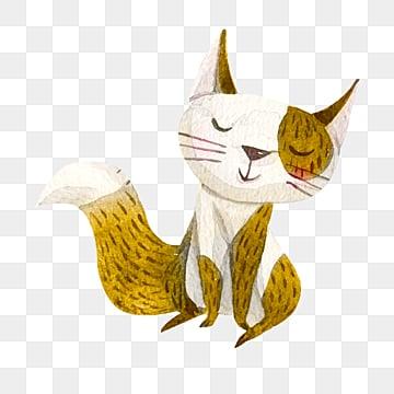 yellow hand drawn illustration cartoon cat element, Cat, Animal, Cartoon PNG and PSD