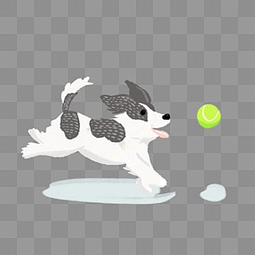 black and white hand painted side animal playing ball dog element, Dog, Black, Tennis PNG and PSD