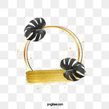 black gold palm leaves round border, Leaf, Golden, Black PNG and PSD