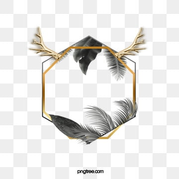 black gold plant antler polygon border, Antlers, Leaf, Golden PNG and PSD