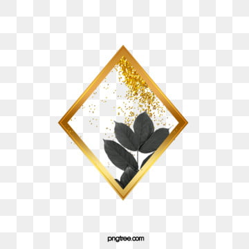 black gold plant leaves rhombus border, Leaf, Golden, Black PNG and PSD