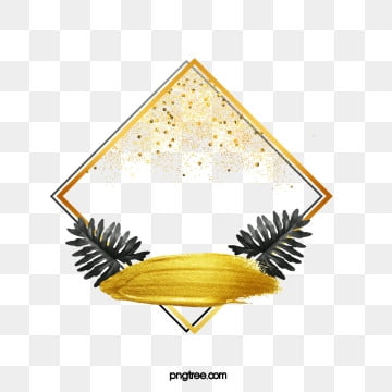 black gold sequins leaves rhombus border, Leaf, Golden, Black PNG and PSD