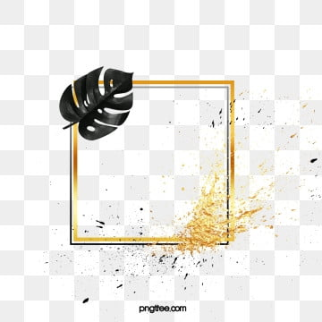black gold splattered plant square border, Leaf, Golden, Black PNG and PSD