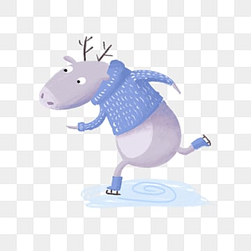 blue skating deer hand drawn winter elements, Deer, Blue, Winter PNG and PSD