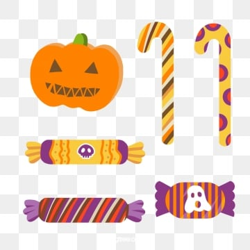 cartoon hand drawn colorful halloween candy, Candy, Pumpkin, Ghost PNG and PSD