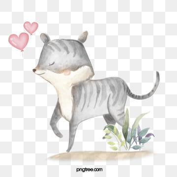 gray kitten love watercolor hand drawn elements, Gray, Kitten, Heart Love PNG and PSD