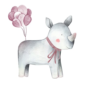 gray rhinoceros balloon red cute illustration element, Rhinoceros, Gray, Balloon PNG and PSD