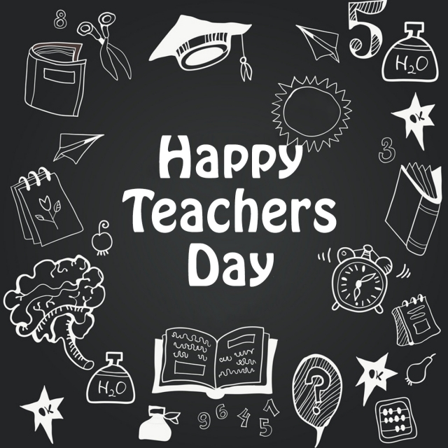 Happy Teachers Day White And Black Art Font For Free Download