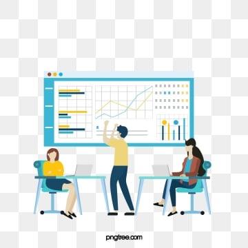 만화 비즈니스 온라인 비즈니스 협력 그림, 협동, 상무., 노랑색 PNG 및 PSD