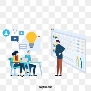 만화 비즈니스 ui 협력 라인 아이콘 그림, 도표, 정보, 전구 PNG 및 PSD