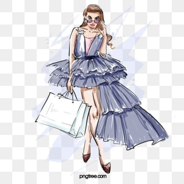 evening dress fashion fashion shopping cover girl hand drawn elements, Latest Fashion, Fashion, Girl PNG and PSD