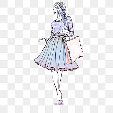 fashion fashion hand drawn shopping girl elements, Latest Fashion, Fashion, Watercolor PNG and PSD