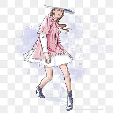 fashion fashion pink hat female model hand drawn elements, Fashion, Clothes, Girl PNG and PSD