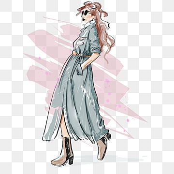 fashion gray trench coat sunglasses high heels hand painted mannequin elements, Fashion, Clothes, Illustration PNG and PSD