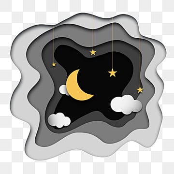 black gradient paper cut style moon and stars elements, Night Sky, Sky, Universe PNG and PSD