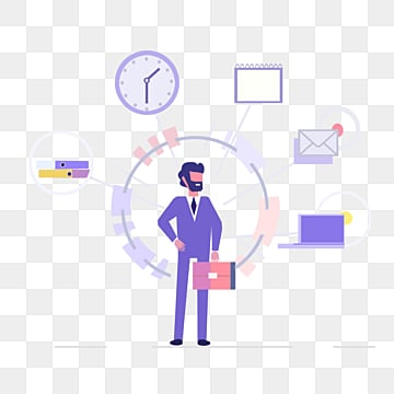 cartoon purple ui business man illustration, Business Affairs, Cooperation, Violet PNG and PSD