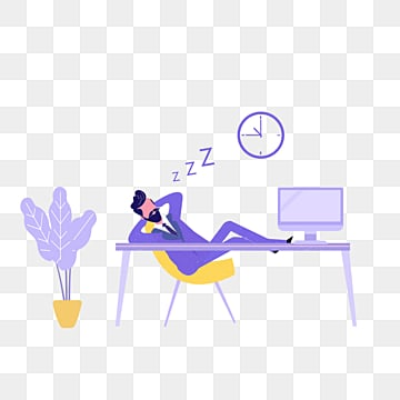 cartoon purple ui office sleeping illustration, Cartoon, Violet, Make A Company PNG and PSD