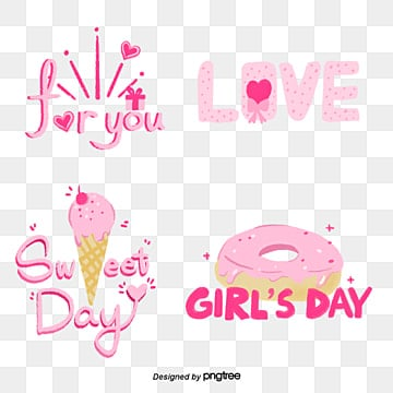 pink dessert girl cartoon camera sticker font Fonts