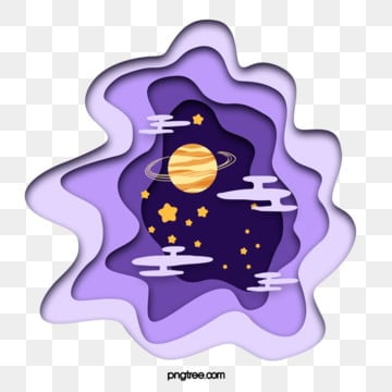 purple gradient paper cut style celestial star element, Night Sky, Sky, Universe PNG and PSD