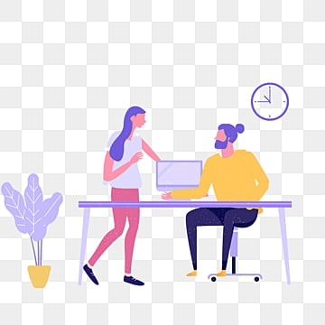 purple ui office desk talk illustration, Desk, Chair, Clocks And Watches PNG and PSD