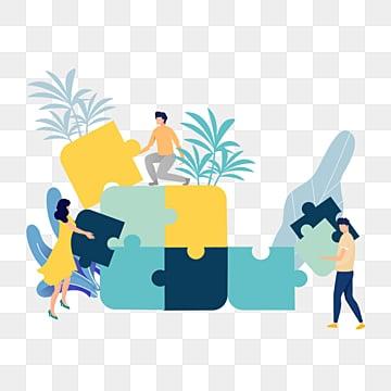 만화 손으로 그린 팀웍 퍼즐 그림, 협동, 병도, 노랑색 PNG 및 PSD