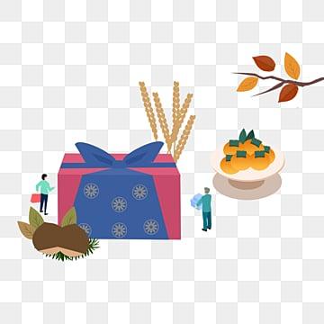 한국의 가을 축제 선물 그림 만화 추석 달, 선물 상자, 쇼핑, Food PNG 및 PSD
