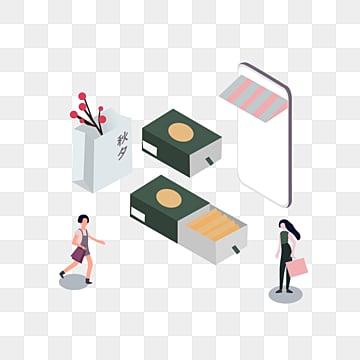 만화 한국 가을 쇼핑 일러스트 레이션, 가을밤, 선물케이스, 쇼핑 PNG 및 PSD