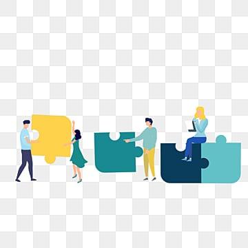 만화 팀워크 퍼즐 암호 해독 그림, 협동, 병도, 노랑색 PNG 및 PSD